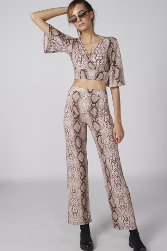 Printed Crop Top with Flared Sleeves and Tie Ups