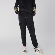 Full Length Jog Pants with Elasticised Waistband and Tape Detail