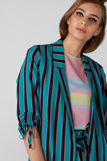 Striped Jacket with Notched Lapel and Tie Up