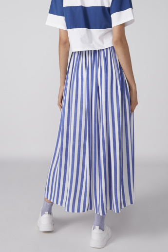 Striped Maxi Skirt with Elasticised Waistband