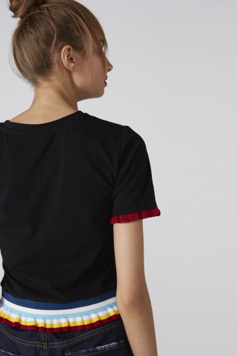 Round Neck Top with Short Sleeves and Ruffled Hem