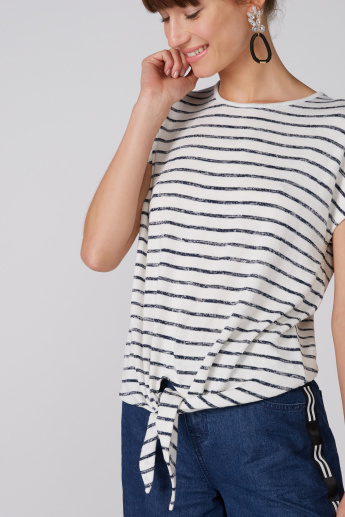 Striped Round Neck Top with Tie Ups and Extended Sleeves
