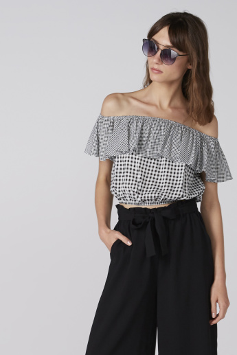 Chequered Off Shoulder Crop Top with Frill Detail