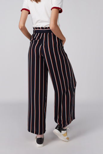 Full Length Palazzo Pants with Pocket Detail and Tie Ups