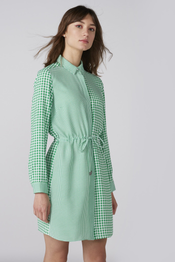 Chequered Shirt Dress with Long Sleeves and Tie Ups