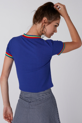 Ribbed Crop T-Shirt with Short Sleeves
