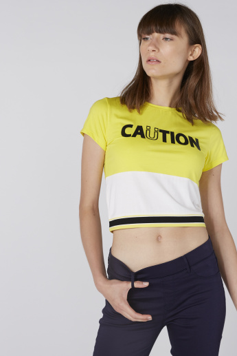Printed Crop Top with Crew Neck and Short Sleeves