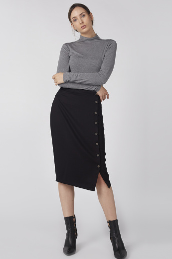 Midi Pencil Skirt with Button Detail