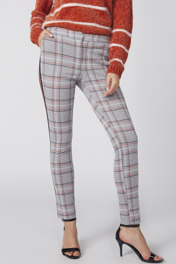 Chequered Trousers with Side Tape Detail and Zip Closure