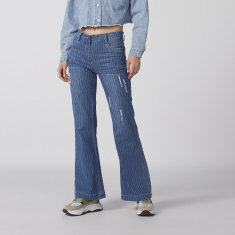 Striped Bootcut Jeans with Button Closure and Pocket Detail