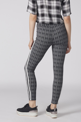 Chequered Pants with Elasticised Waistband and Side Tape Detail