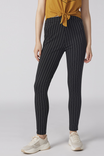Chequered Trousers with Elasticised Waistband and Tape Detail