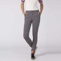 Chequered Pants with Side Tape and Pocket Detail