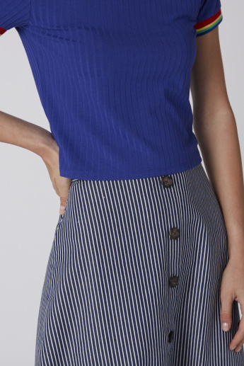 Striped Midi Skirt with Button Detail