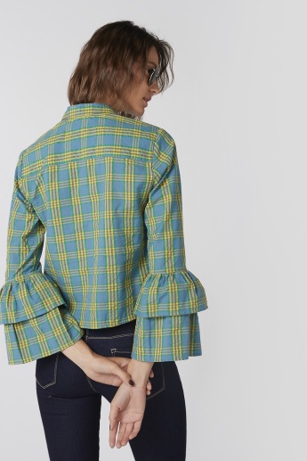 Chequered Shirt with Flared Sleeves and Complete Placket
