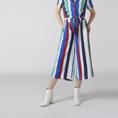 Striped Culottes with Elasticised Waistband and Pocket Detail