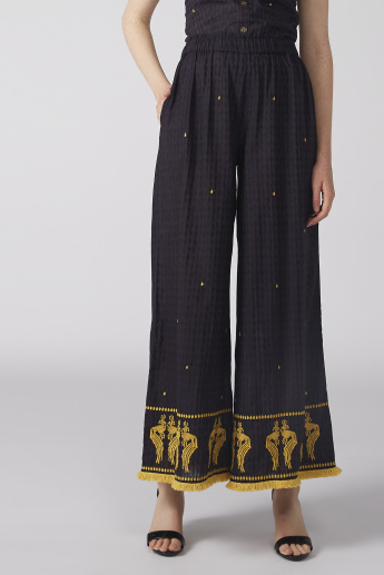 Fringe and Pocket Detail Palazzo Pants with Elasticised Waistband