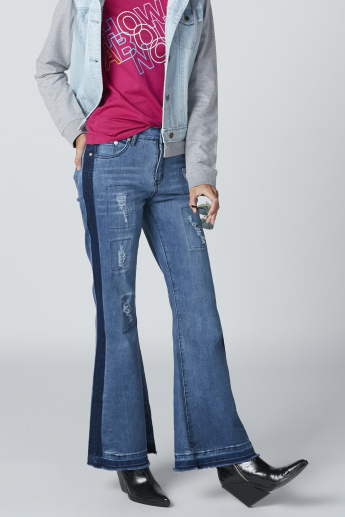 Distressed Mid-Rise Jeans with Pocket Detail and Frayed Grazers
