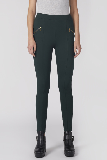 Full Length Jegging with Elasticised Waistband and Zip Detail