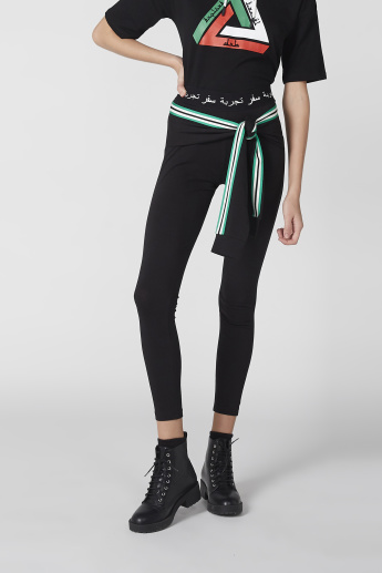 Striped Tie Pattern Full Length Leggings