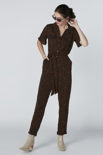 Printed Jumpsuit with Pocket Detail and Tie Ups