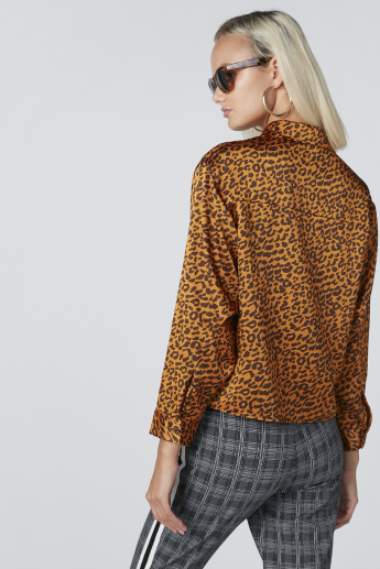 Animal Printed Crop Shirt with Long Sleeves and Complete Placket