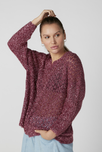 Textured Sweater with V-Neck and Drop Shoulder Sleeves