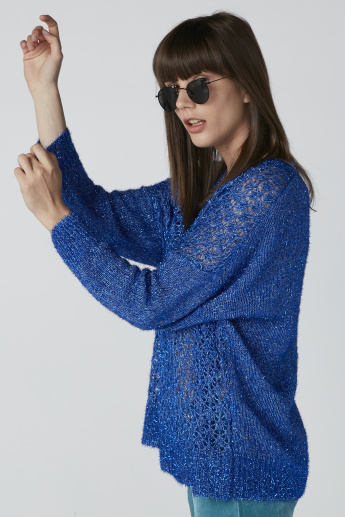 Textured Sweater with Drop Shoulder Sleeves
