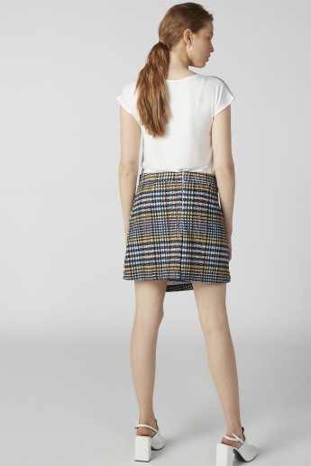 Chequered A-Line Mini Wrap Skirt