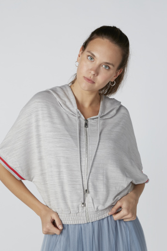 Melange Sweatshirt with Batwing Sleeves and Hood