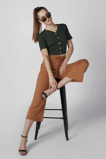 Cropped Ribbed Top with V-neck and Button Detail