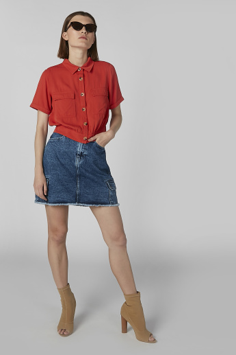 Plain Crop Shirt with Chest Pocket Detail and Short Sleeves