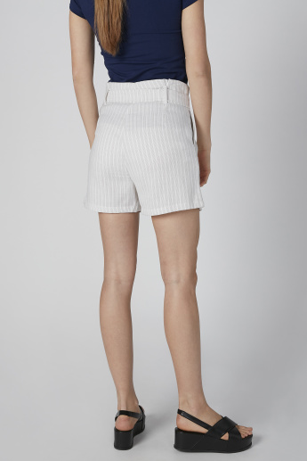 Striped Mid-Rise Shorts with Tie Up Belt and Pocket Detail