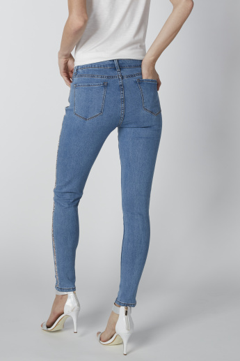 Full Length Mid-Rise Jeans in Regular Fit with Glitter Detail