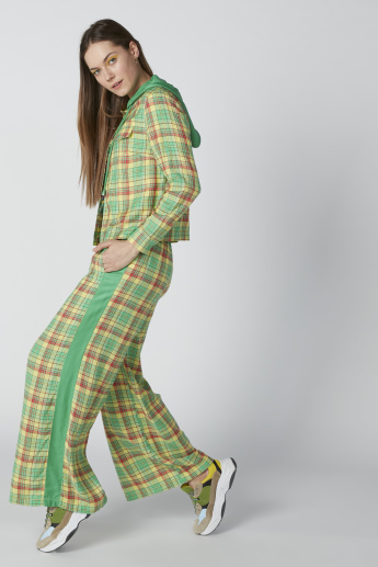 Chequered Mid-Rise Palazzo Pants in Wide Fit with Pocket Detail