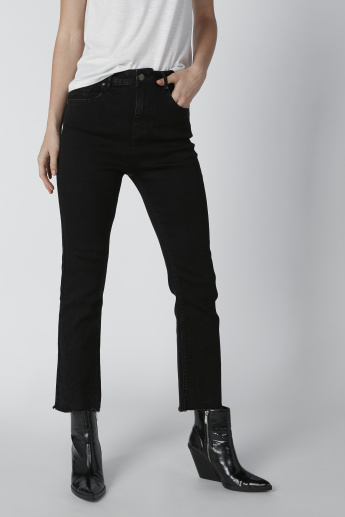 Solid Mid-Rise Jeans with Pocket Detail