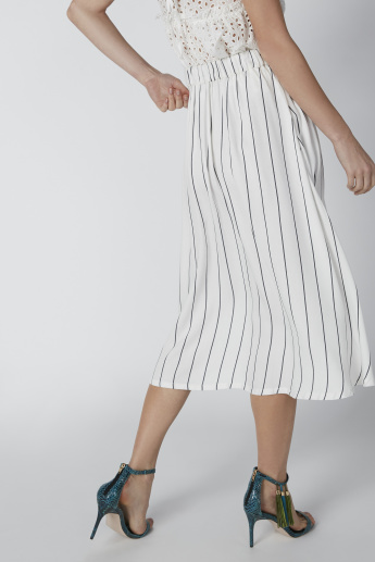 Striped Midi A-Line Skirt with Button Detail and Tie Ups