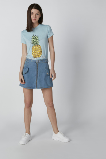 Embellished T-shirt with Prints and Short Sleeves