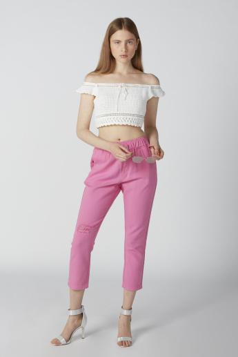 Cropped High-Rise Distressed Pants with Pocket Detail