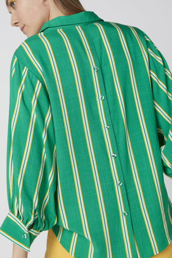 Striped Top with Collar and Button Detail