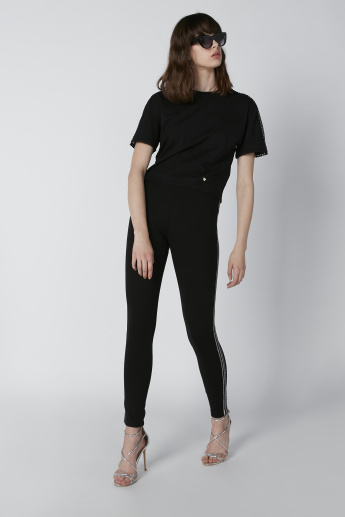 Side Tape Detail High-Rise Slim-Fit Leggings