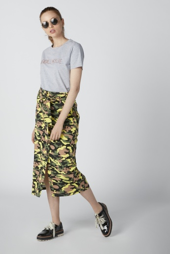Printed A-Line Skirt with Tie Ups