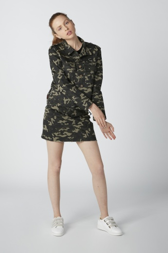 Kendall + Kylie Camouflage Printed Mini Skirt with Pocket Detail