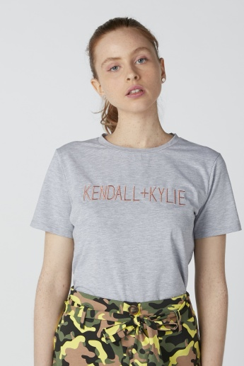 Kendall + Kylie Embroidered T-Shirt with Round Neck