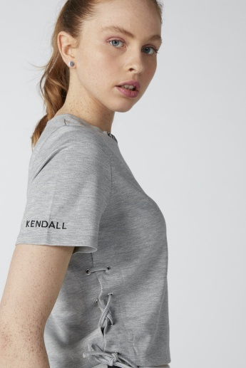 Kendall + Kylie Embroidered Round Neck Top with Side Tie Up Detail