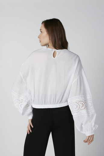 Schiffli Detail Top with V-Neck and Long Sleeves