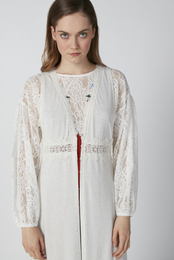 Lace Detail Longline Cardigan with Long Sleeves