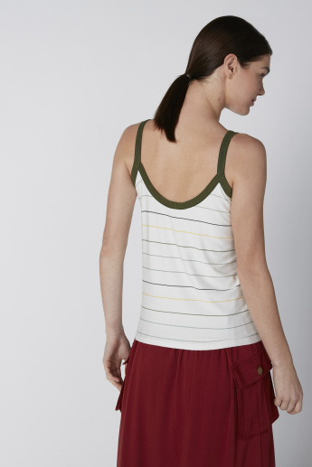 Striped Top with V-neck and Spaghetti Straps