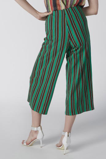 Wide Fit Striped High- Rise Culottes