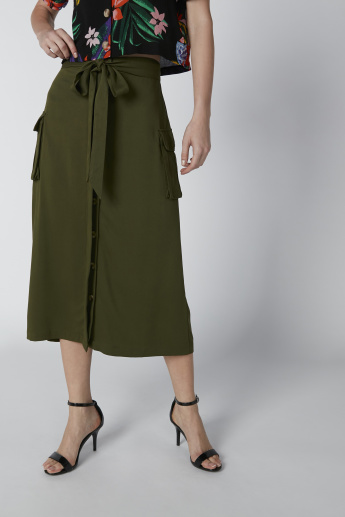 Button and Pocket Detail Midi A-Line Solid Skirt with Tie Ups